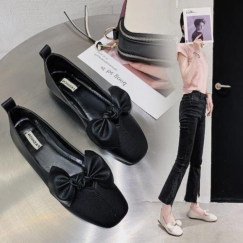 大きいリボン フラットパンプス スクエアトゥ 韓国ファッション レディース ぺたんこ パンプス フラットシューズ キュート 痛くない かわいい 歩きやすい 623975545711