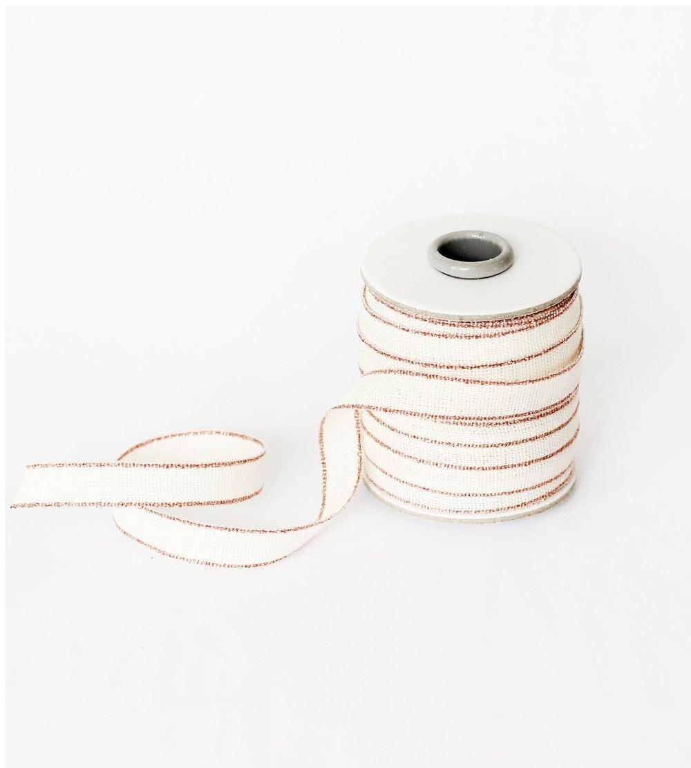 Drittofilocottonribbon   spool of 20 yards Natural/Rose gold【Studio Carta】/コットンリボン スタジオカルタ