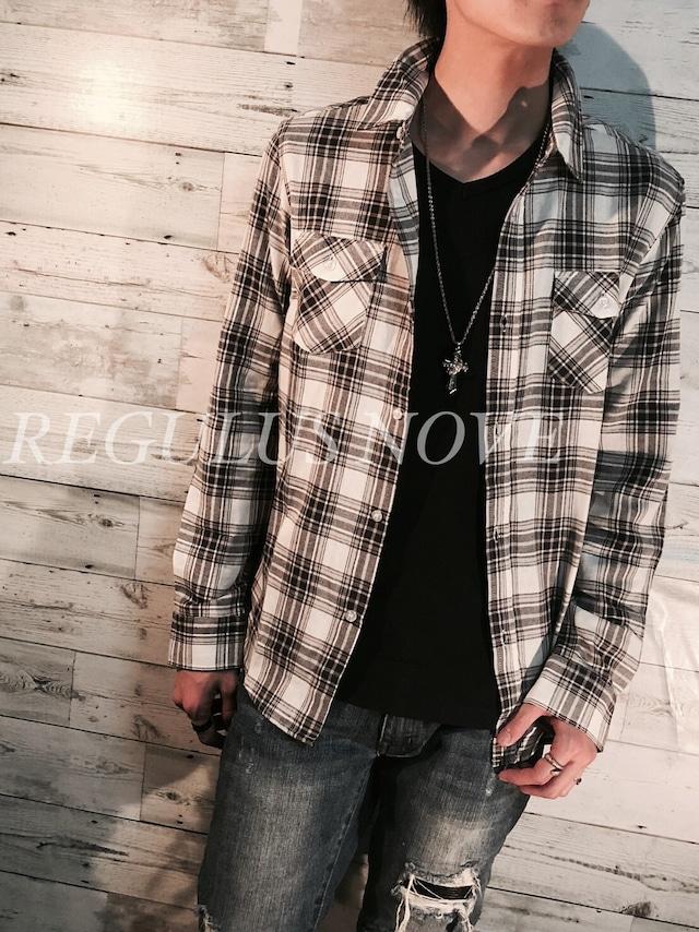 REGULUS NOVE マルチカラープレーンチェックシャツ WHITE   メンズ レディース ユニセックス 春物 夏物 長袖 大人 シンプル レイヤード