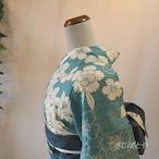 綿麻 水浅葱に花の浴衣