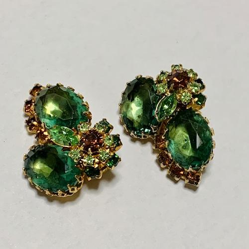 Vintage Green & Amber Bijoux Earrings