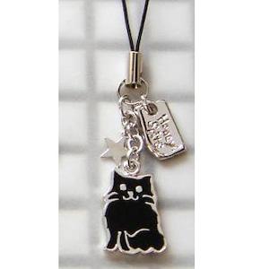 ストラップ 洋猫(黒)+星 (E-1-013B)