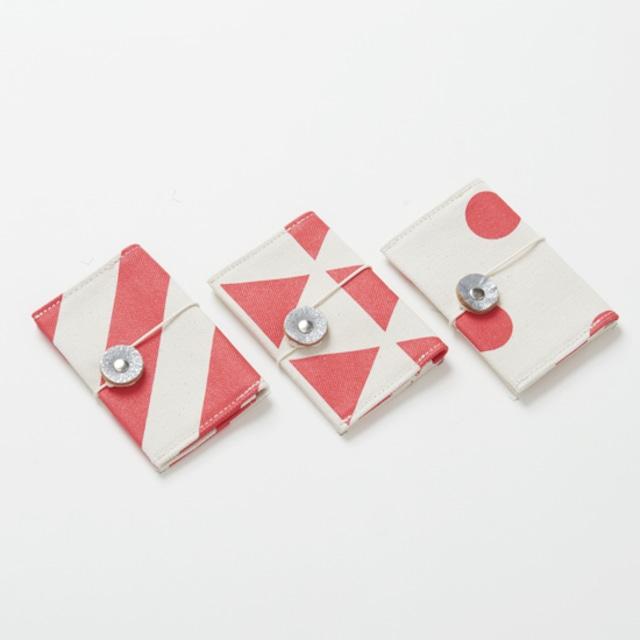 business card case/vermilion/stripe, scale, dot カードケース / 朱 x 縞・鱗・水玉