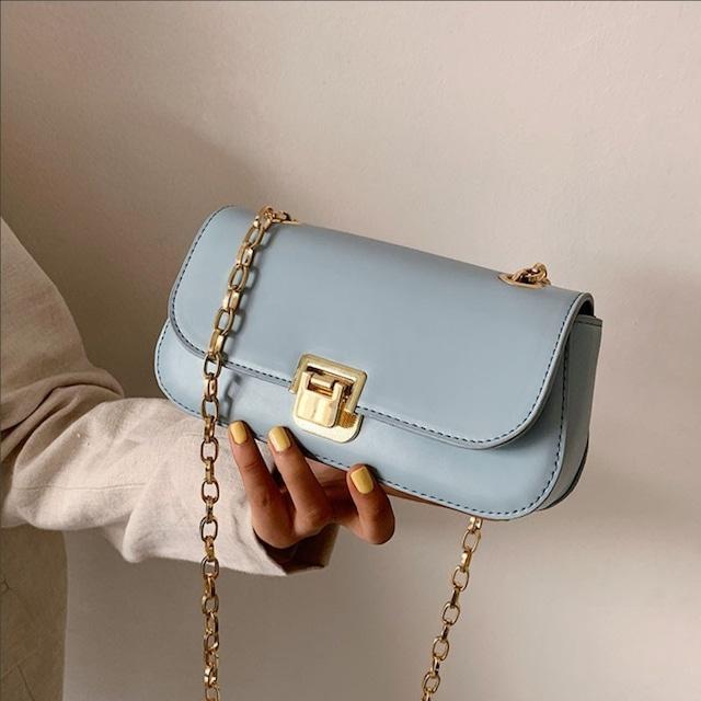 ショルダーバッグ チェーンバッグ 6色展開 上品らしく 気質満点 PU 可愛い 綺麗め ブルー コーヒー色 ダークベージュ イエロー ブラック ホワイト