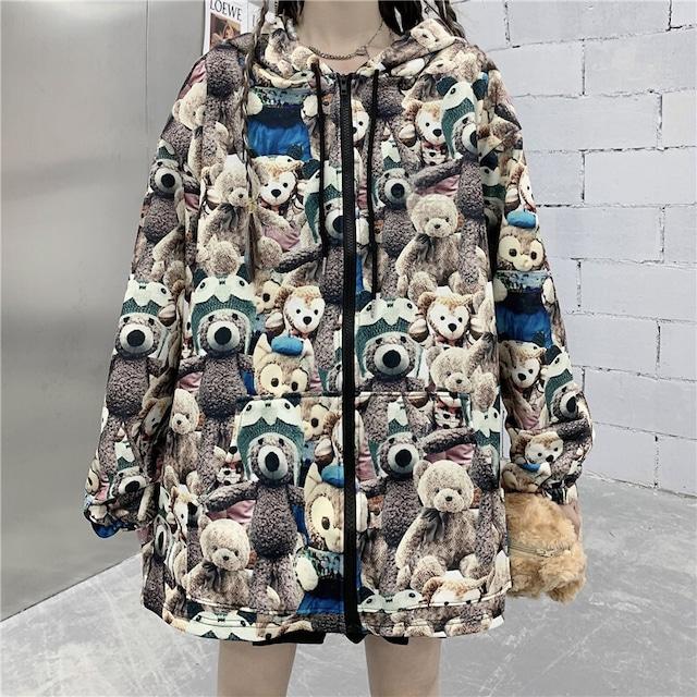 ユニセックス パーカー くまちゃん ベアー ジップアップ 長袖 オーバーサイズ 韓国ファッション メンズ レディース カジュアル ストリートファッション TBN-653614011445