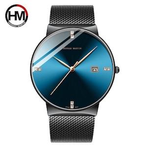 メンズウォッチステンレススチールクラシックビジネス防水トップブランド高級クォーツムーブメント腕時計カレンダーHM-901-L-WFH