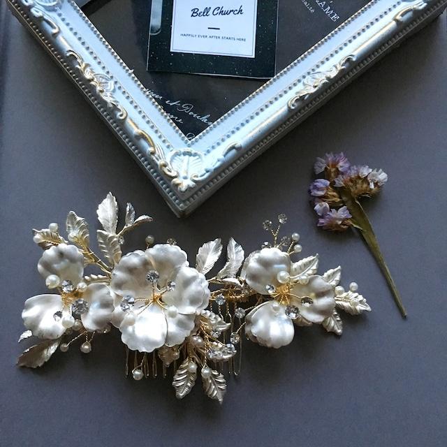 ヘッドドレス パールとラインストーン お花モチーフ シルバー (BC-H29)|ウェディングアクセサリー