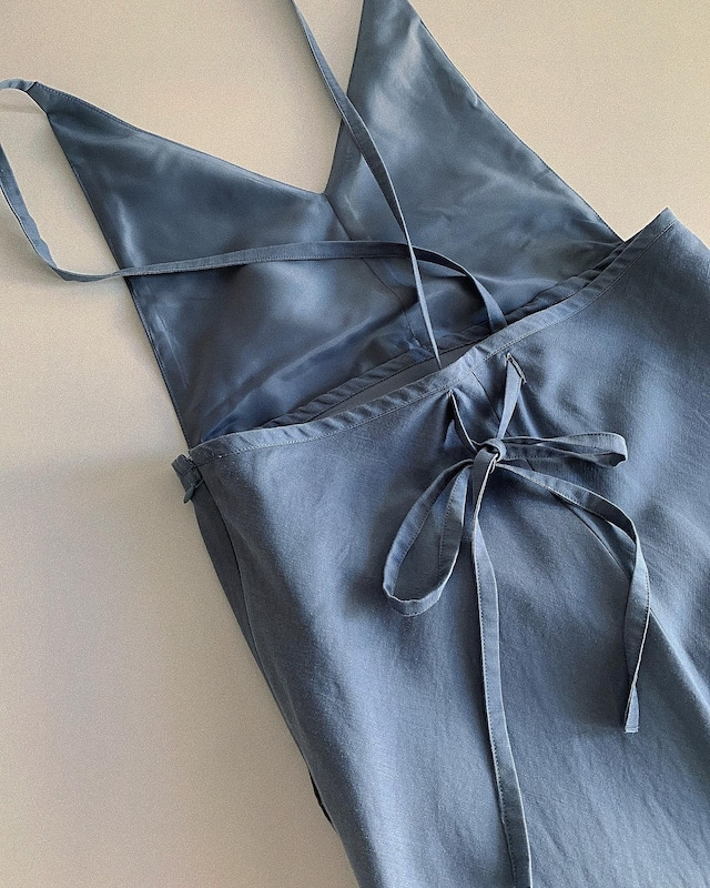 CaNARi 2020aw blended fabric back ribbon dress