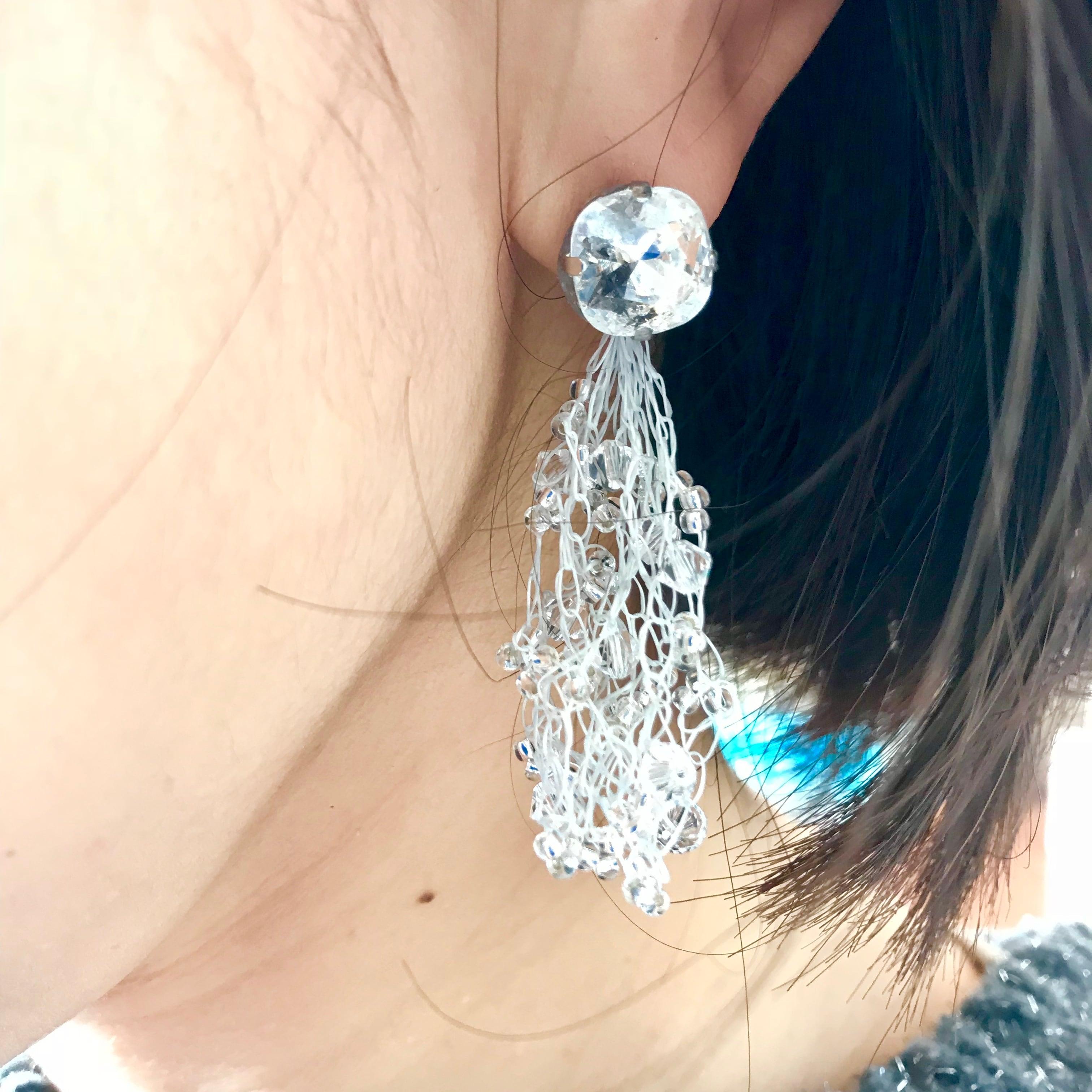 Croshet Pierce /Earing(white)
