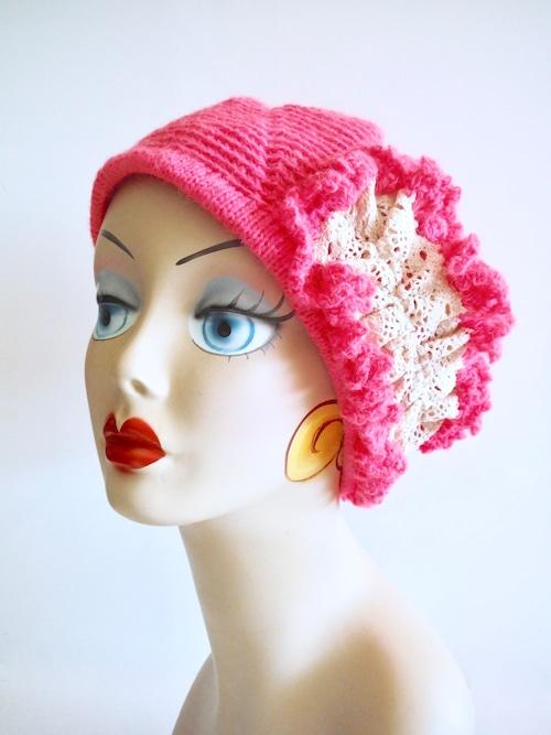 レース付きベレー帽 ピンク