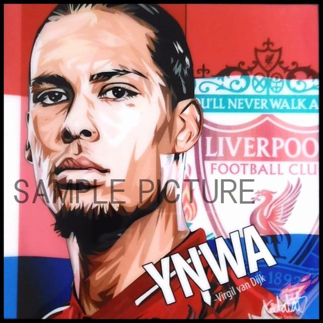 サッカーグラフィックアートパネル フィルジル・ファン・ダイク リバプールFC 木製 壁掛け ポスター (001-235)