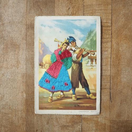 スペインの刺繍入りのポストカード
