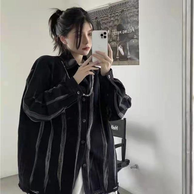 【トップス】ストリート系暗黒系男女兼用長袖シンプルシャツ52904616