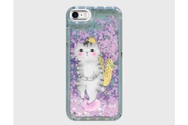 【即日出荷用】サックス猫のグリッタースマホケース(iPhone用)
