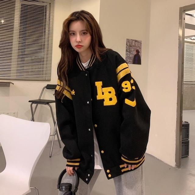 【アウター】学園風合わせやすいアルファベット着痩せゆったり厚手長袖ジャケット52990395