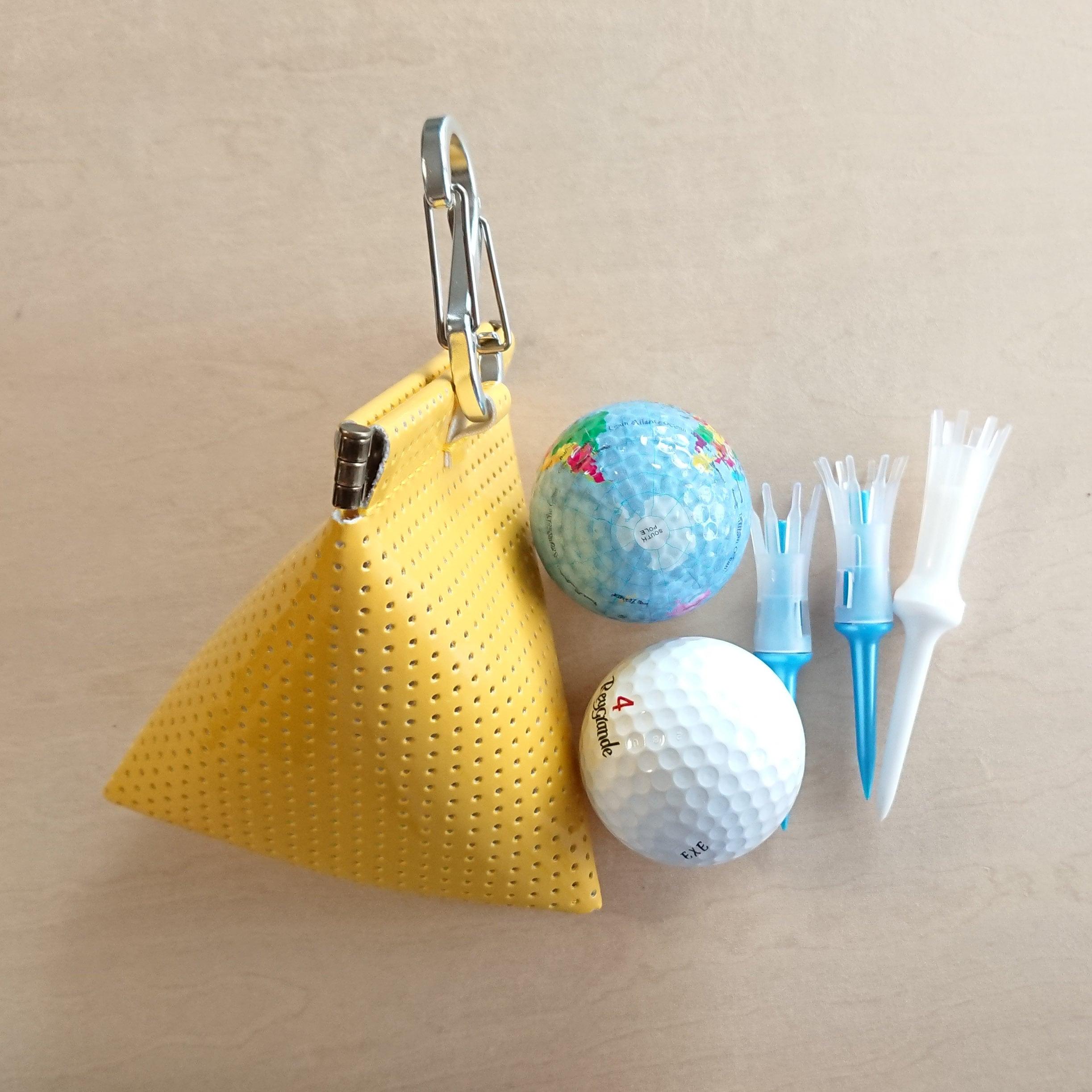 三角型 ゴルフボールケース☆ボール2個用 ミモザ