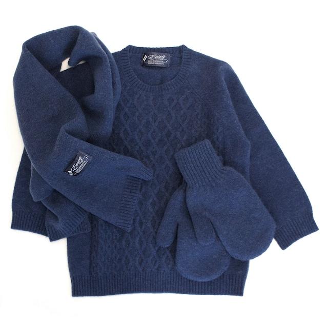 100%ピュアカシミヤ セーター&マフラー&手袋セット(青色) お子様用