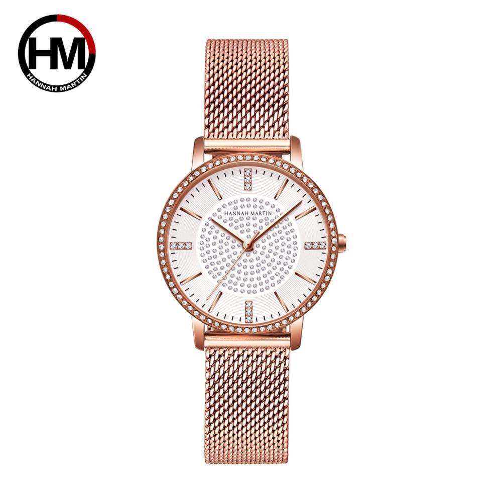 ステンレス鋼ストラップ日本運動ローズゴールドダイヤモンド女性ラインストーン腕時計女性クォーツ時計1074BWFF
