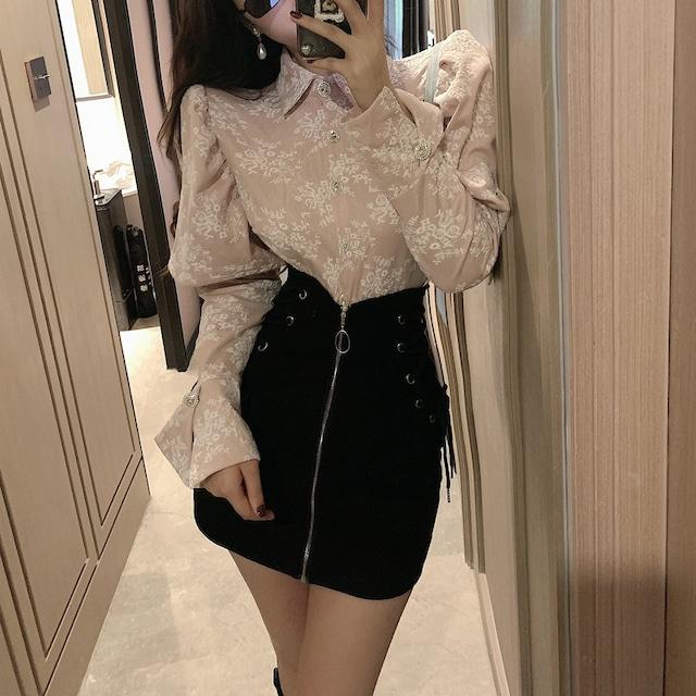 【セット】「単品注文」エレガント長袖シングルブレストPOLOネックシャツ+スカート52263631