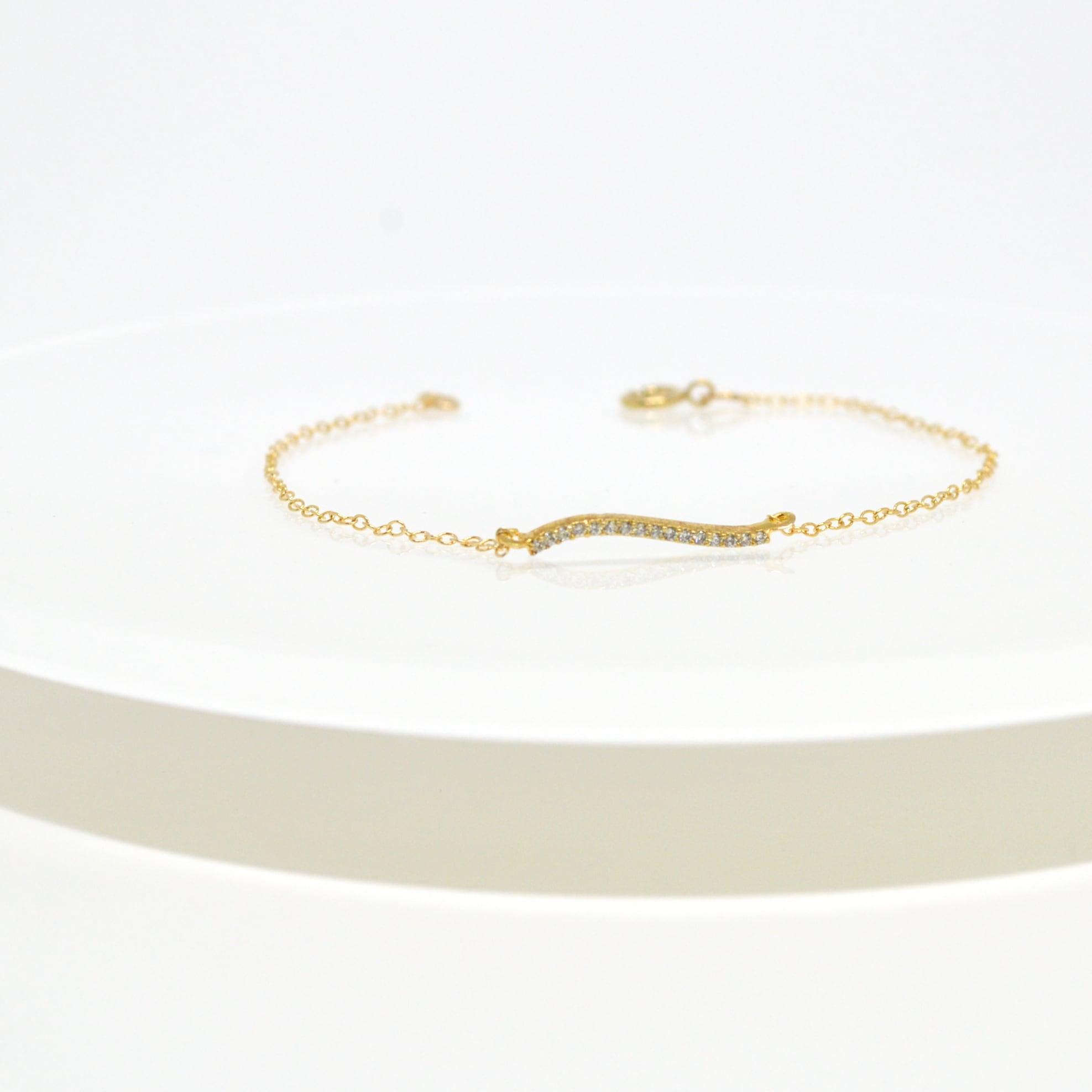 14kgf Curve Line CZ Bracelet