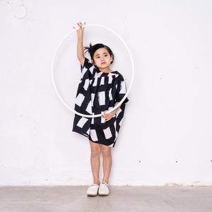 ORIG. CHECK MIX SLANT GATHER DRESS / S - L