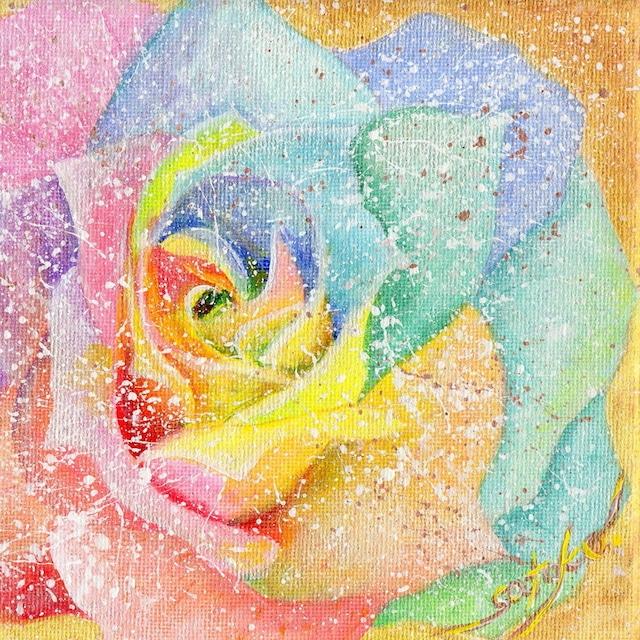 絵画 絵 ピクチャー 縁起画 モダン シェアハウス アートパネル アート art 14cm×14cm 一人暮らし 送料無料 インテリア 雑貨 壁掛け 置物 おしゃれ バラ 薔薇 ばら フラワー 花 虹 アクリル画 パステル画 水彩画 ロココロ 画家 : Satoko Rin 作品 : Rainbow Rose