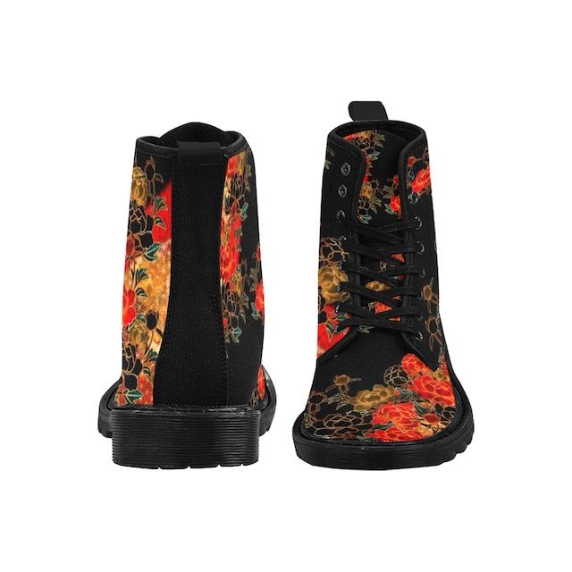 牡丹家紋 黒 メンズ&レディース キャンバスブーツ