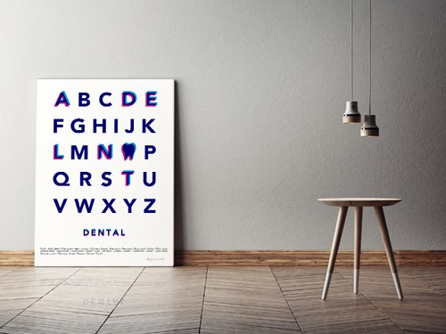 Typography(DENTAL) キャンバスプリント(B2サイズ・木製パネル貼り)
