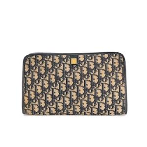 Christian Dior クリスチャン ディオール CD トロッター オブリーク ジャガード クラッチ ポーチ セカンドバッグ ネイビー vintage ヴィンテージ オールド eahxv5