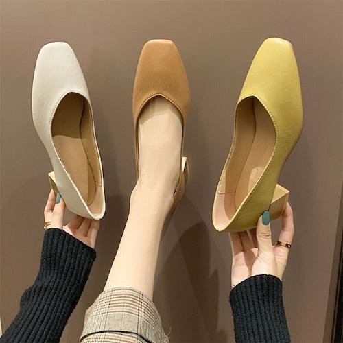 パンプス スクエアトゥ  チャンキーヒール 4cm 韓国ファッション レディース シンプル シューズ キュート 痛くない かわいい 歩きやすい 611563187446