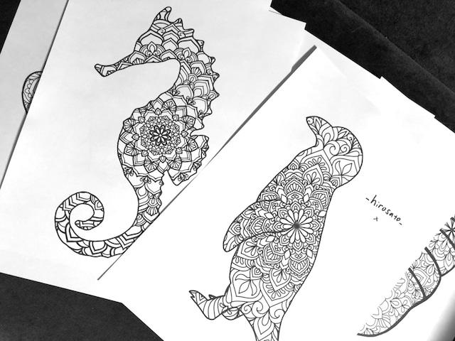 [塗り絵] 海の生き物 8枚セット vol.1