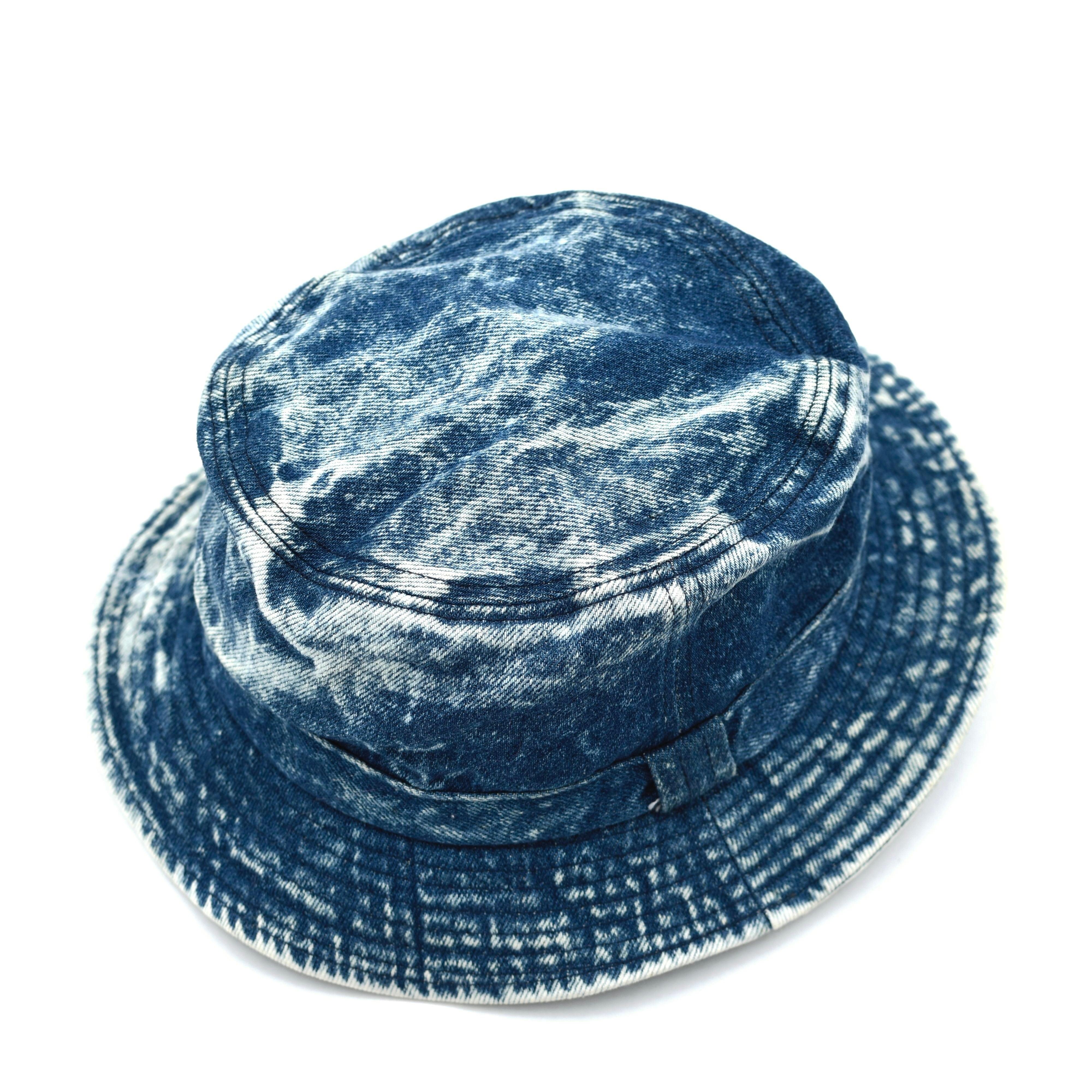 Chemical wash denim bucket hat