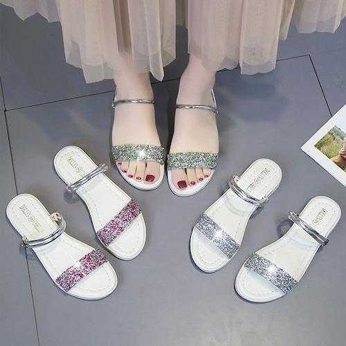 2WAY ストラップ サンダル ラインストーン フラットサンダル 韓国ファッション レディース スパンコール ぺたんこサンダル 痛くない かわいい 靴 歩きやすい 591207415090