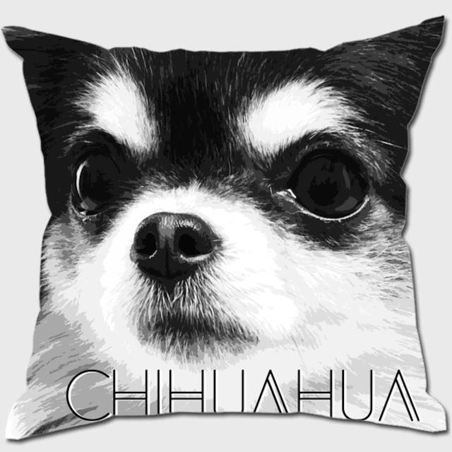 チワワ 【IMPACT -shirokuro- 犬 クッション】