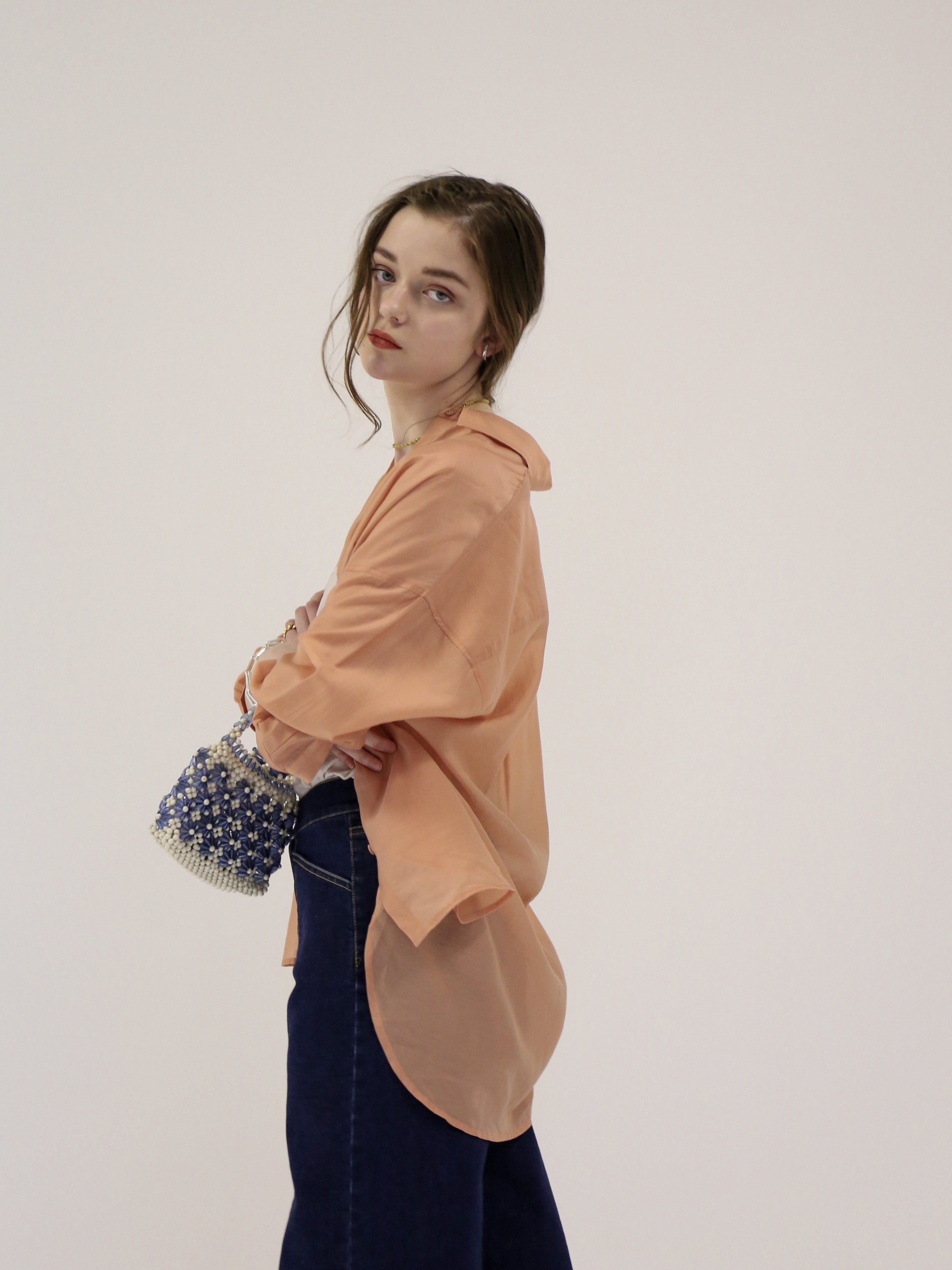 oversize sheer shirt(apricot)