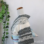 綿麻 練色に麻の葉縞の浴衣
