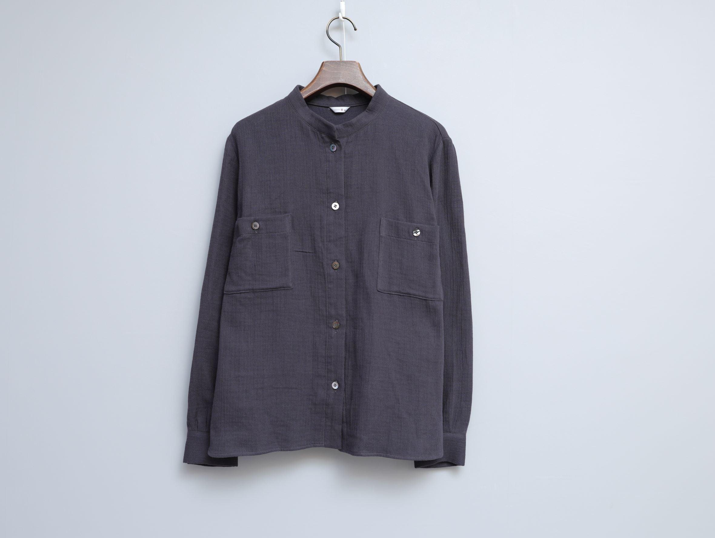 ざっくり二重ガーゼのスタンドカラーシャツ〈完売しました〉