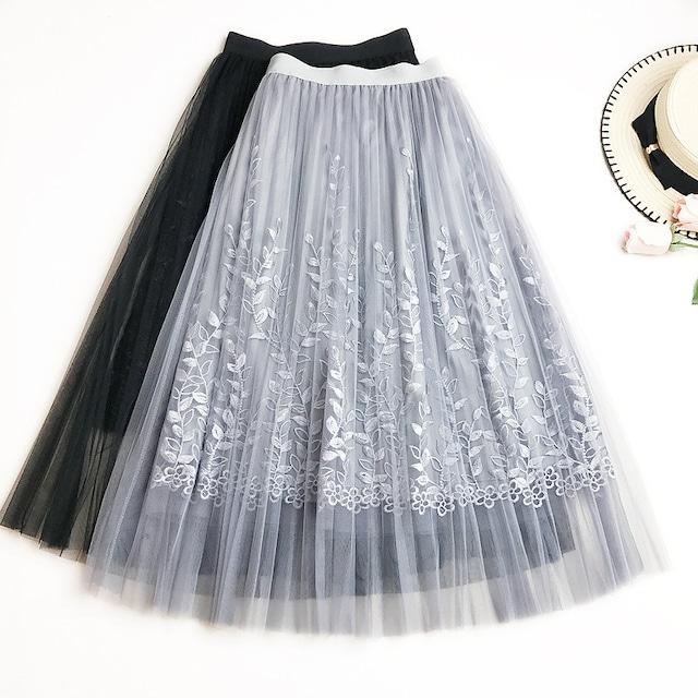 リーフ刺繍チュールスカート*SK2019046y