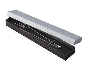 ネックレスケースミフタ式紙箱台紙付き エンボス紙グレー 20個入り AR-N247