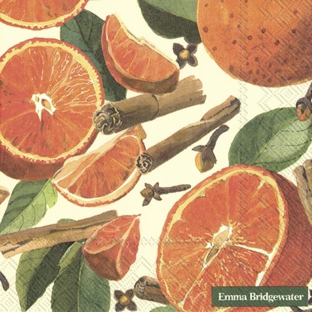 2021秋冬【Emma Bridgewater】バラ売り2枚 ランチサイズ ペーパーナプキン SPICED ORANGES クリーム