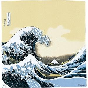 【Furoshiki】68 Ukiyo-e Rayon Chirimen Yuzen Dyeing | Under The Wave Off Kanagawa Beige 【風呂敷】二巾浮世絵ちりめん友禅 波裏に富士