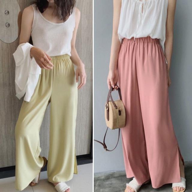 ◆即納ライム/ピンクのみ残り僅か◆裾スリット入 リラックス ウエストゴム ロングワイドパンツ 2S-058