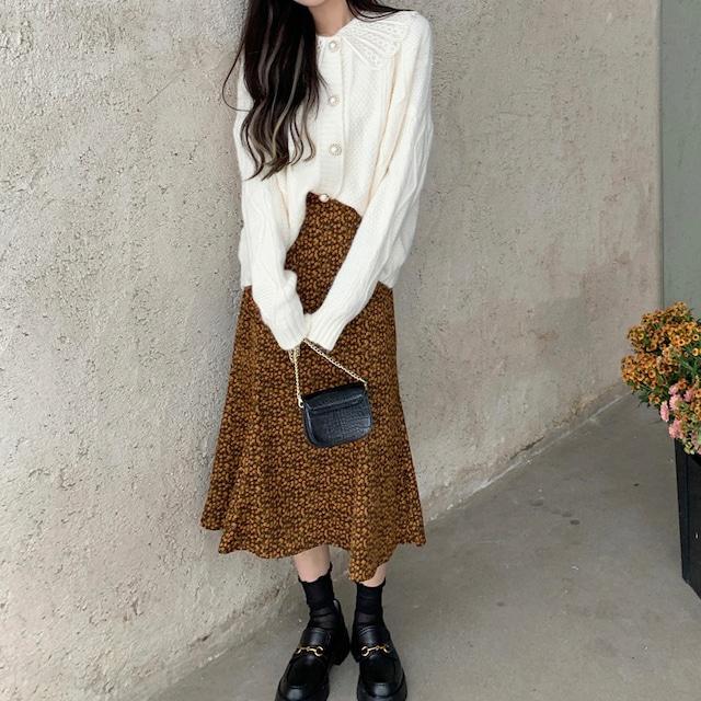 【しみずくるみ様着用アイテム⸜❤︎⸝】レース襟セーター+小花柄フィッシュテールスカート