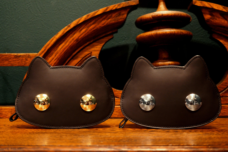 猫連合フラット財布(ゴールド/シルバー)猫型の牛革製ミニ財布