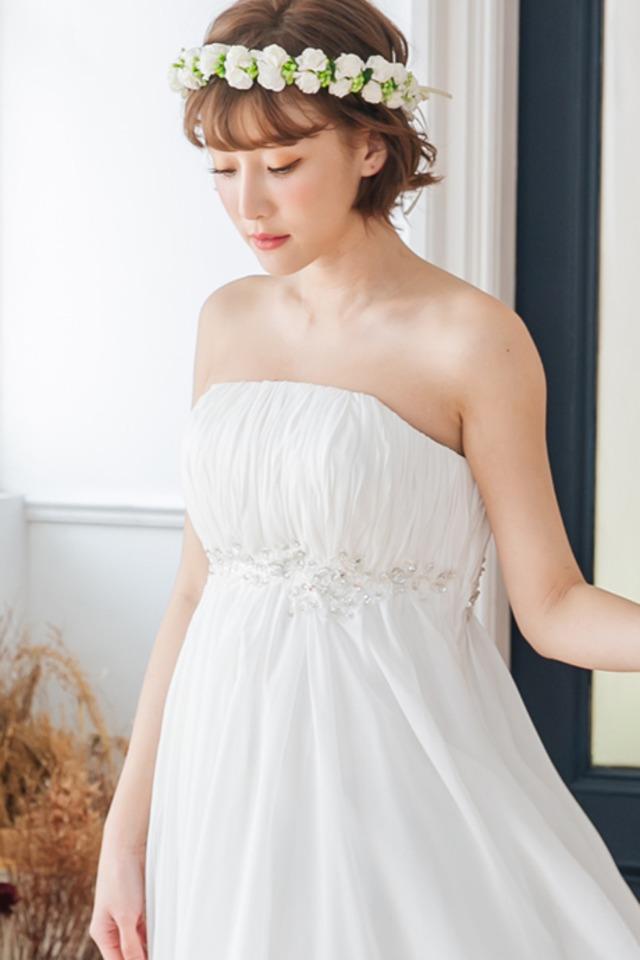 小枝アクセが可愛い エンパイアドレス (ウェディングドレス 2次会 結婚式 ) sss-0125