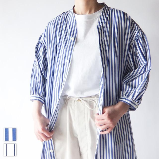 HAVERSACK - コットンストライプ ロングシャツ - Blue / White