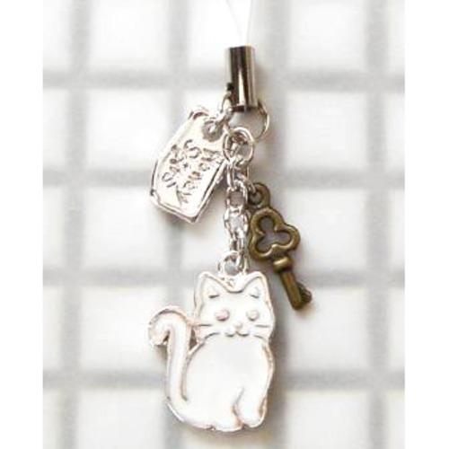 ストラップ 和猫(白)+キー (E-1-019W)