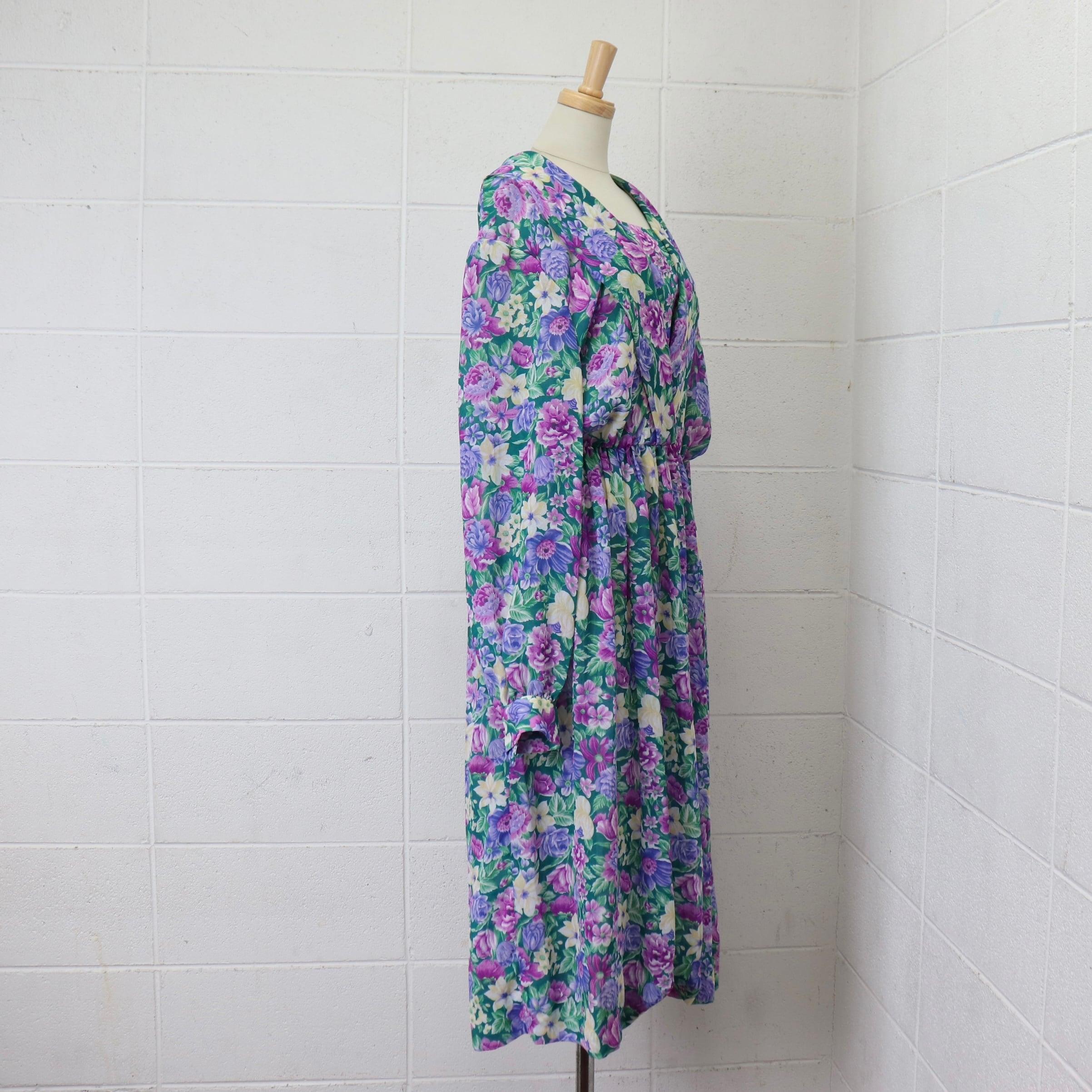 レディース 70〜80年代 ヴィンテージ 花柄 ワンピース  ポリエステル アメリカ古着 グリーン L 70〜80's Usa Vintage Floral pattern  Dress