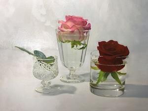 潮田和也「薔薇とグラス」