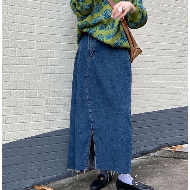 Denim long skirt KRE1095